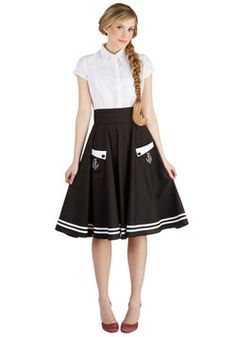EUC Hell Bunny size 4x $40 shipped Aweigh We Go Skirt. Its anchors aweigh when you don this black and white, vintage-inspired skirt! #black #modcloth