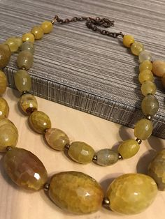 Golden Yellow Agate Stone Two-Strand Beaded Necklace