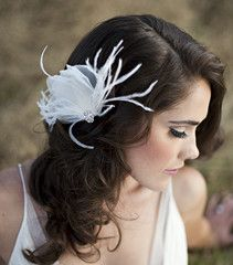 The Emma - Organza and Feather Half Bloom