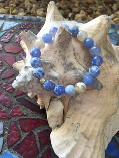 Blue Crackled Fire Agate 10mm Bracelet with 4mm by ParvatiBeads