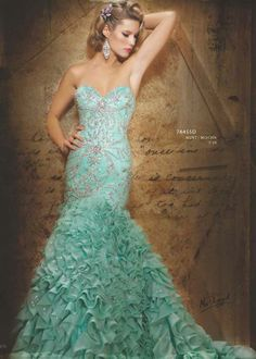 My favorite dress color. Mint couture gown