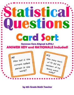 Statistical Questions Notes and Activity   Activities, Exit ...