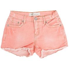 Coral Mini Cut Off Shorts by m2f ($62) ❤ liked on Polyvore featuring shorts, bottoms, pants, short, cut off short shorts, cut-off shorts, coral shorts, short shorts and mini shorts