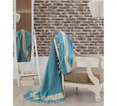 Cuvertura Double Turcoaz Indoor Air Quality, Bed Spreads, Carbon Neutral, Blue And White, Rustic, Blanket, Composition, Sleep, Furniture