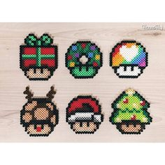 Christmas mushrooms perler beads by  hannah                              …