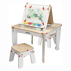 Best Selling Kids Toddlers Arts And Crafts Activity Table Learning Center Set With Two Stool Seats Beautiful Wood Table Chair Combo With Chalkboard Easel Paint Storage Holders Fun For Young Artists -- You can get additional details at the image link.