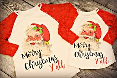 Vintage Santa Lace Raglan for ladies and girls!  63% off retail and FREE SHIPPING this week only!