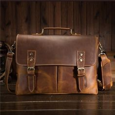 Big 15 Inch Laptop Bag Durable Crazy Horse Leather MenS Handbag Perfect Quality Genuine Leather