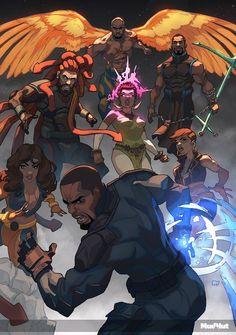League of Protectors Fantasy Character Design, Character Design Inspiration, Character Concept, Character Art, Concept Art, Black Cartoon, Cartoon Art, Comic Books Art, Comic Art