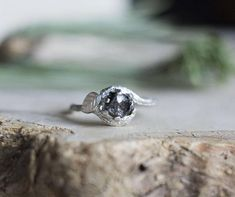 Meteorite Ring with Sterling Silver and Campo del Cielo - Swirly Elvish Engagement Ring Twig and Leaf