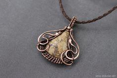 Jasper pendant, wire wrap pendant, wire wrapped jewelry,  simple jewelry, boho pendant