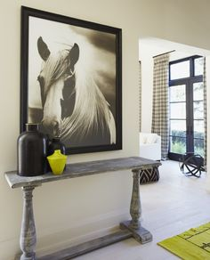 console + horse photograph art from elte in modern country entry via House & Home... I want this picture