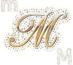 Alfabeto de oro y brillantes.   Oh my Alfabetos!