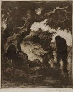 """""""By the Tree"""", n.d., Eugene Higgins, American (1874-1958), monotype on paper, 5 15/16 x 4 7/8 in. Museum purchase with funds from the Benefactors Fund, 1978. 1978.2536"""