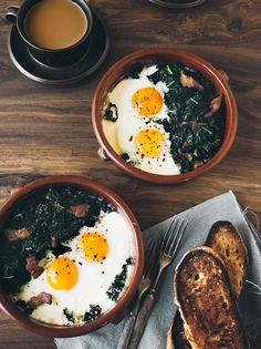 Pancetta Kale Baked Eggs | Eva Kolenko