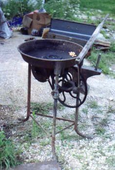 Portable forge with lever operated blower
