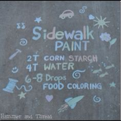 Sidewalk chalk. Hammer and thread