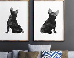Frenchie, Set de 2 cuadros, impresión de perro negro, silueta de Bulldog Francés, decoración de la pared de gris, acuarela