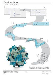 Origamis da Mary: Kusudama Etna Diagrama