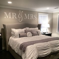 Sr. y Sra. pared muestra arriba cama Decor Señor por ZCreateDesign