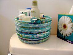 Coiled Rope Basket Organizer in Aqua Clothesline by SallyManke
