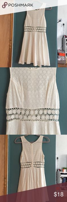 Free People white dress - size 0 Great condition. Crochet floral detail at waist. Free People Dresses Mini