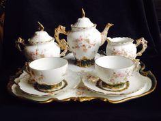 Antique Limoges France Coffee Set On Tray Cherubs Flowers