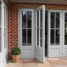Green Building Store's PERFORMANCE triple glazed windows & French doors specified as a cost-effective option to meet technical requirements for the project inc Eyebrow windows. The Doors, Back Doors, Windows And Doors, French Windows, French Doors Patio, Exterior French Doors, Farmhouse Patio Doors, Bifold French Doors, Porch Doors