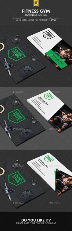 3 Fitness Gym Business Cards - #Business #Cards Print #Templates Download here: https://graphicriver.net/item/3-fitness-gym-business-cards/19394889?sref=alena994