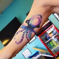 Adorable Watercolor Octopus Tattoo by Lola