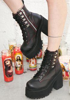 SHANGWU Femmes Dames Bloc Bottes de Motard /à mi Chunky mi Talon//Bottines /à Plateforme Punk Rock Gothique//Mode Veau /à Lacets Vintage Martin Bottes Courtes Taille