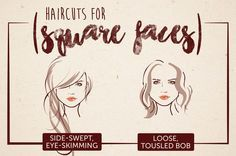Haircuts for Square Faces - Think that's me! Also includes stuff for other face shapes.