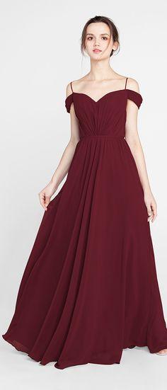 burgundy off the shoulder fall bridesmaid dresses