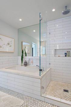 Bathroom Design : Wonderful Modern Bathroom White Tile Design Home Gray Cleane White Tile Bathroom ~ Aerial-type Bathroom Renos, Bathroom Renovations, Bathroom Interior, Small Bathroom, Bathroom Ideas, Bathroom Tubs, Anchor Bathroom, Gold Bathroom, Bathroom Layout