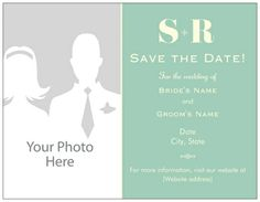 Modern Mint Wedding Save The Date Magnets, Monogram Wedding Save The Date Magnets | Vistaprint