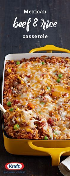 Mexican Beef & Rice Casserole – Here's a tasty way to make a pound of ground beef serve eight. This flavorful casserole recipe is made with Mexican-style cheese and taco seasoning, meaning it's sure to be a hit on your dinner table.