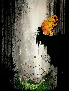 Fantasy World, Fantasy Art, Elfen Fantasy, Fairy Tree, Forest Fairy, Woodland Fairy, Magic Forest, Butterfly Fairy, Butterfly Wings