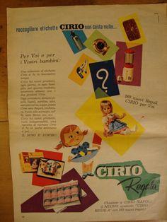 raccogliere etichette CIRIO 189 nuovi regali - Pubblicità, Advertising 1965