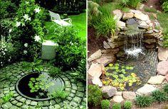 Har du också drömt om att ha en porlande damm eller bäck i trädgården? Då kanske de här bilderna kan ge lite inspiration ;).