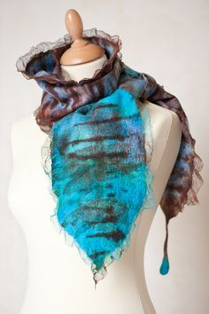 Nuno Felted Scarf Exotic Bird Feather Fiber Art by frenchfelt