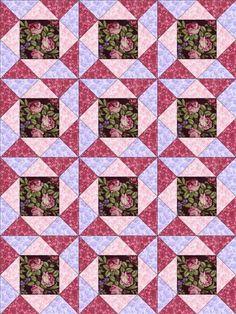 RJR Giselle Mauve Pink Burgundy Violet Floral Rose Pre-cut Quilt Kit Fabric Tri