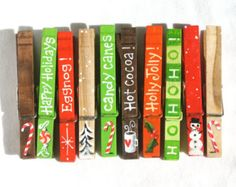 CHRISTMAS CLOTHESPIN hand painted magnetic pegs by SugarAndPaint