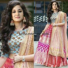 Aditi Rathore aka Avni from Namkarann Lehenga Choli Designs, Saree Blouse Designs, Western Dresses, Indian Dresses, Indian Outfits, Indian Attire, Indian Wear, Indian Wedding Gowns, India Fashion