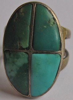 VINTAGE ZUNI INDIAN STERLING SILVER GREEN & BLUE CHANNEL SET TURQUOISE RING