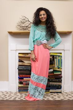 Spring is approaching us Fast! The weather doesn't seems like it! Love the Colors!   Coral Maxi Skirt, with Mint Lace $44.00  Small Medium Large   www.facebook.com/badhabitboutique