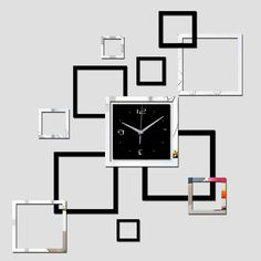 2016 new 3d ayclic mirror clock watch freeshipping reloj de pared horloge large decorative wall clocks living room modern Quartz
