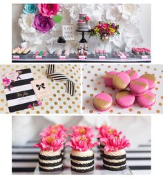 Kate Spade Inspired Bridal Shower // black, white, gold & hot pink // invitations by Coconut Press // styling by August in Bloom // photography by SLG Photography // desserts by Love and Sugar Bakeshop