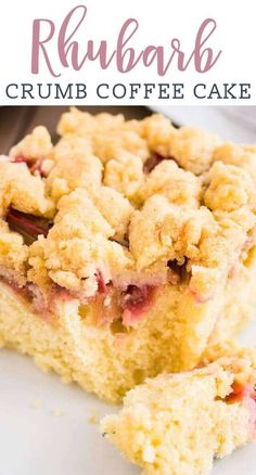 Rhubarb Coffee Cake {A Juicy Delicious Coffee Cake} rhubarb/cake/coffee cake This Rhubarb Coffee Cake is topped with crunchy streusel and studded with rhubarb! An easy-to-make sheet cake recipe that's perfect for spring and summer. Rhubarb Coffee Cakes, Crumb Coffee Cakes, Rhubarb Desserts, Rhubarb Cake, Rhubarb Recipes, Rhubarb Ideas, Streusel Coffee Cake, Sheet Cake Recipes, Easy Cake Recipes