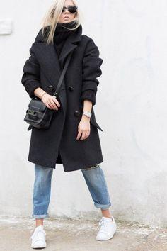 Oversized Coat & Boyfriend Jeans