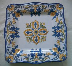 """Mothers Day 11 """"square plates SET OF 4 new melamine, colorful White, Blue Golden #LeCadeaux"""